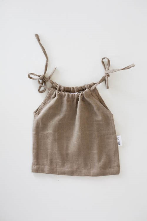 Le Edit Baby Clothes  Linen Marni Singlet in Stone