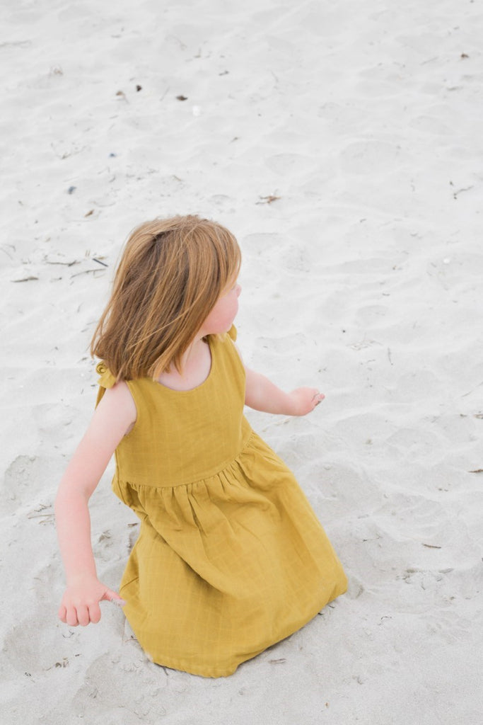 Le Edit Baby Clothes  Linen Summer Dress in Mustard Yellow