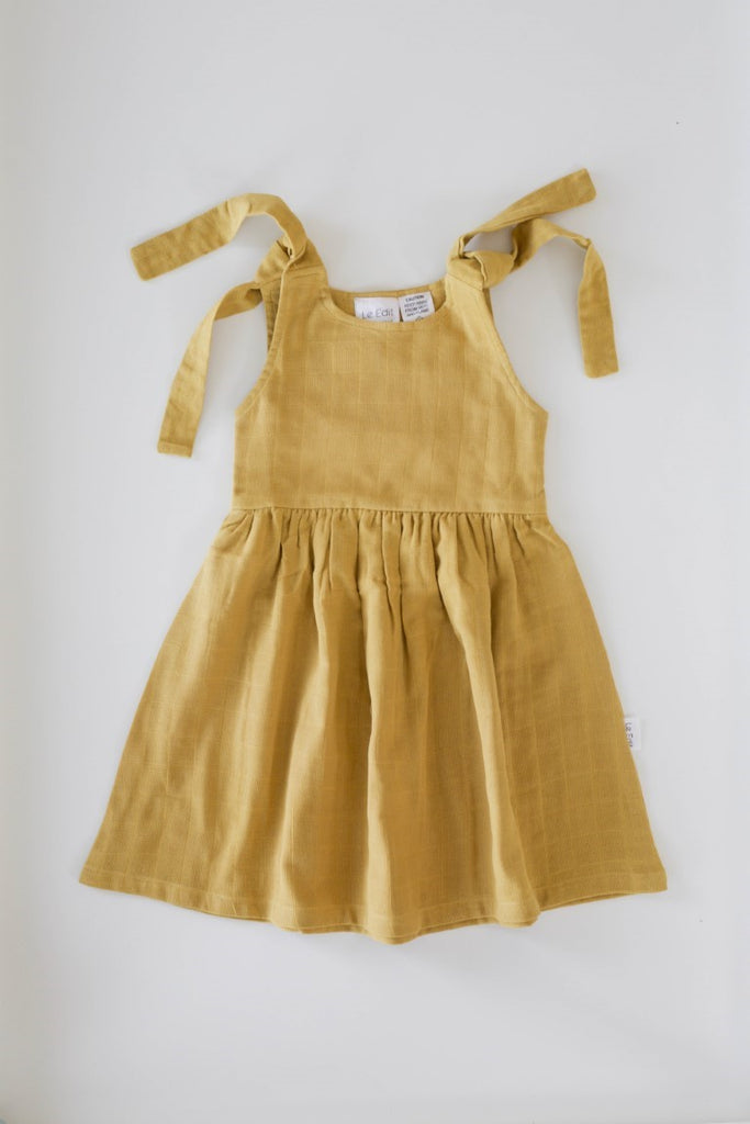 Le Edit Baby Linen Summer Dress - Mustard Yellow