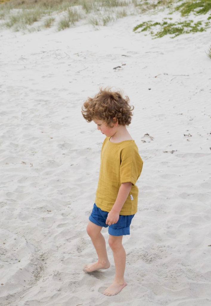 Le Edit Baby Clothes  Linen Sunday TShirt in Mustard Yellow