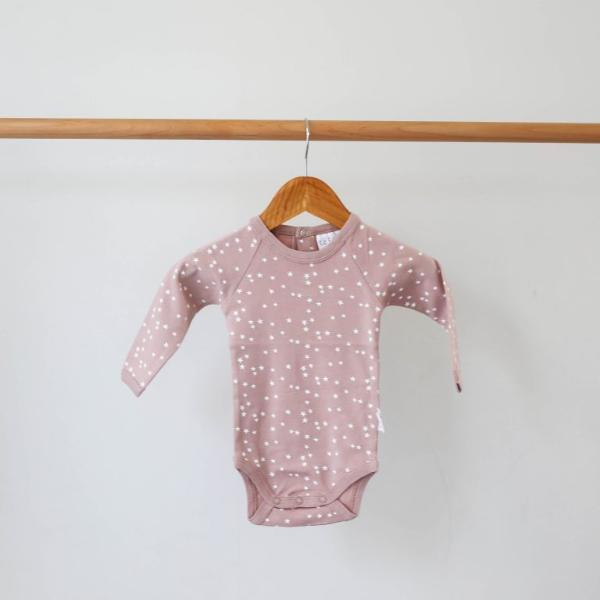 Le Edit Dusty Pink Star Longsleeve Organic Cotton Bodysuit