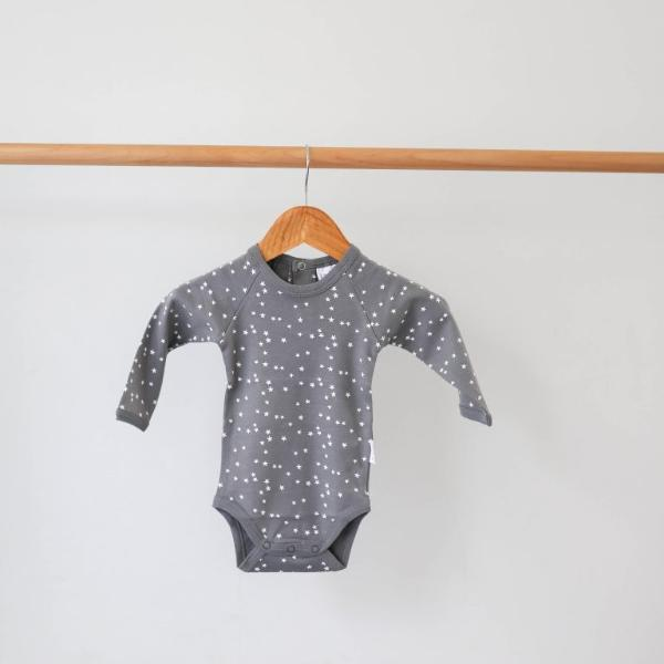 Le Edit Grey Star Longsleeve Organic Cotton Bodysuit