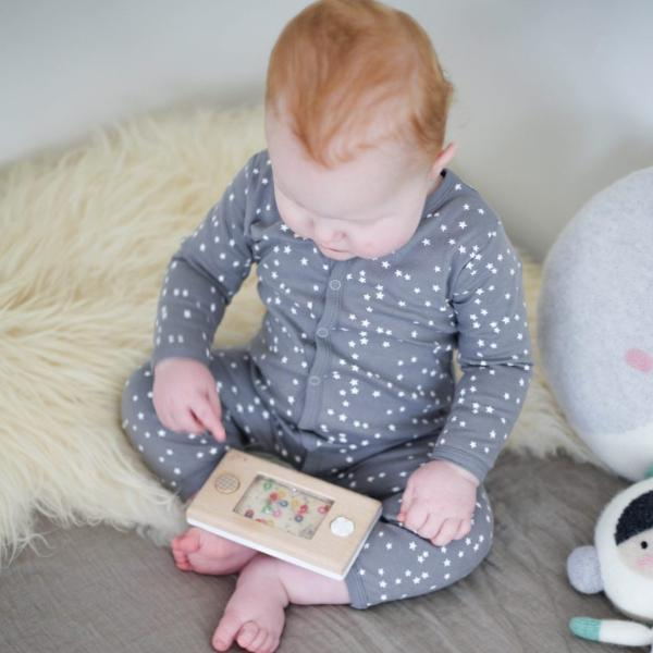 Le Edit Grey Star Longsleeve Organic Cotton Romper