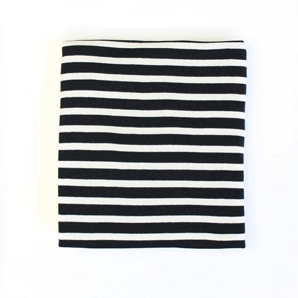 Le Edit Black Stripe Organic Cotton Blanket
