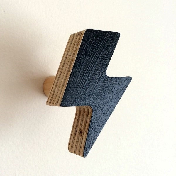 Knobbly Lightning Bolt Wooden Wall Hook   Black