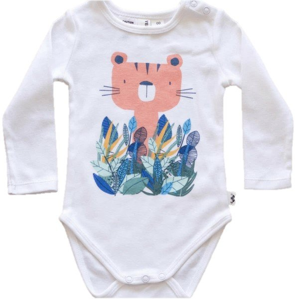 Little Bubba Jungle Cat Long Sleeve Bodysuit White