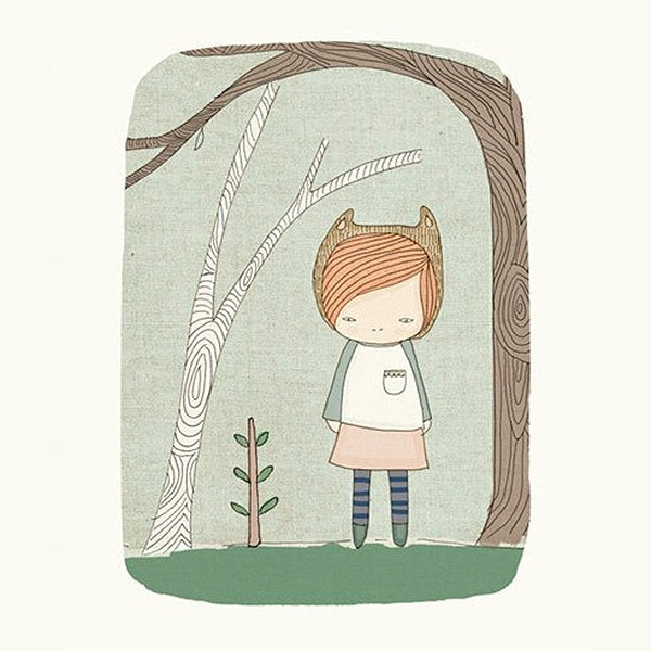 Nomuu Kids Wall Art  Lively Bear Girl In The Woods Illustration