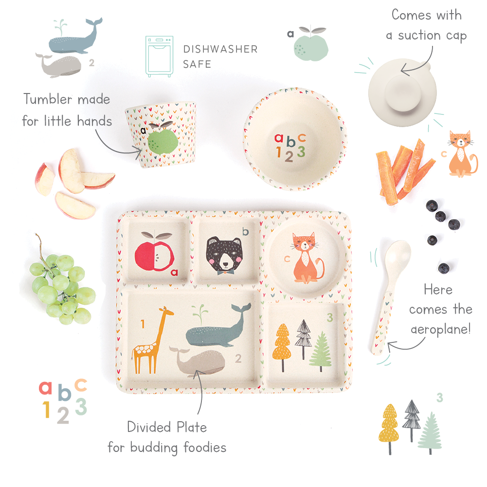Love Mae Bamboo Divided Plate Set - ABC