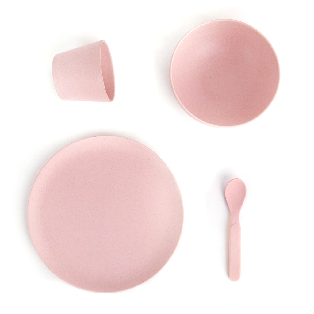 Love Mae Kids Tableware - Kids Bamboo Set in Blush Pink