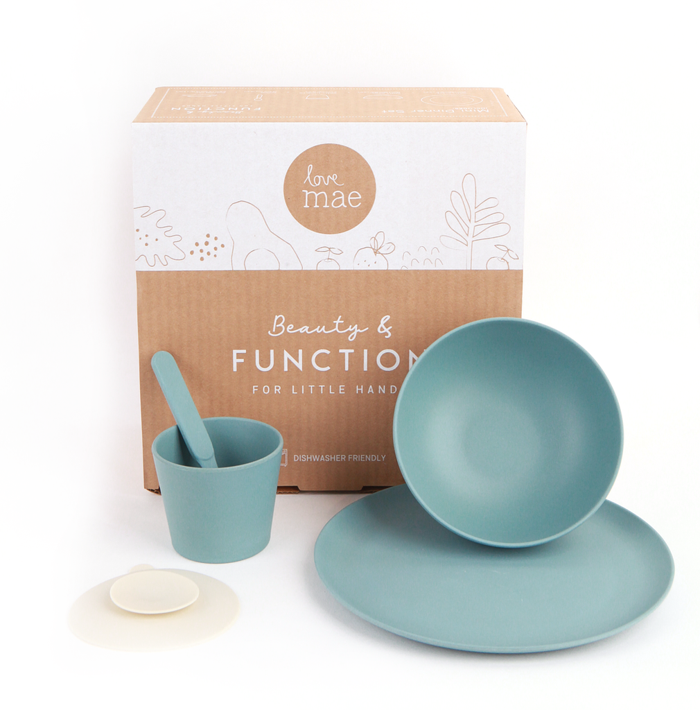 Love Mae Kids Tableware - Kids Bamboo Set in Ocean Blue