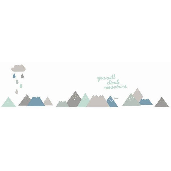 Love Mae Fabric Wall Stickers Climb Mountains Blue