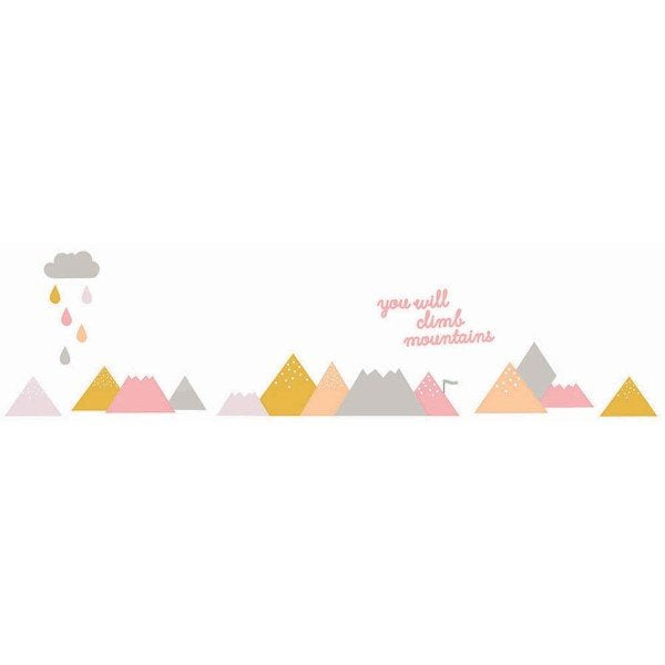 Love Mae Fabric Wall Stickers Climb Mountains Pink
