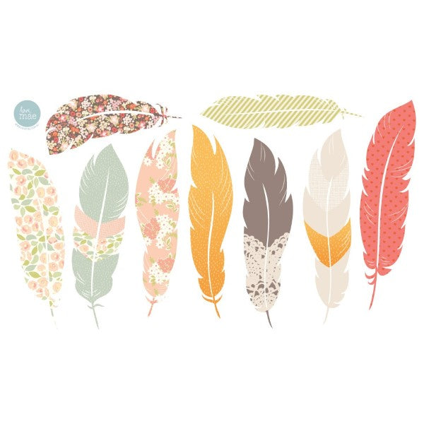 Love Mae Fabric Wall Stickers  Floating Feathers