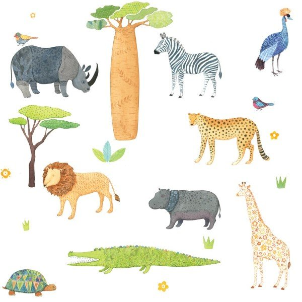 Love Mae Fabric Wall Stickers On Safari