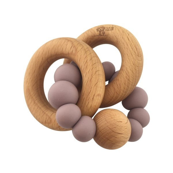 Nature Bubz Luna Silicone and Wood Rattle Teether