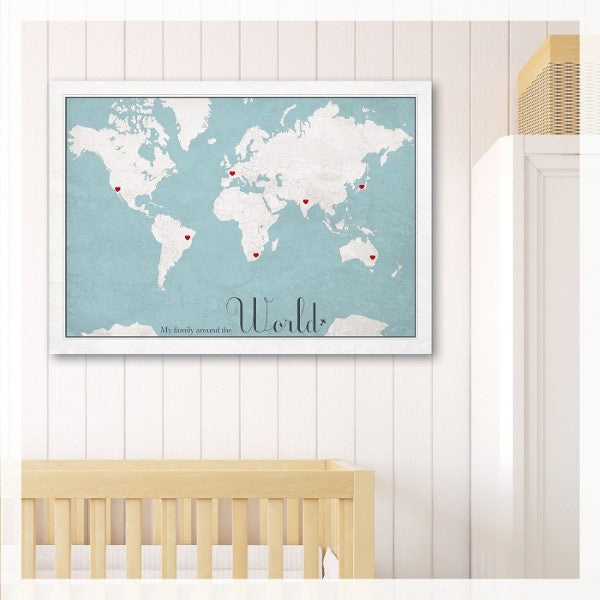 May and Belle Kids Wall Art World Map Poster  My Family Around The World