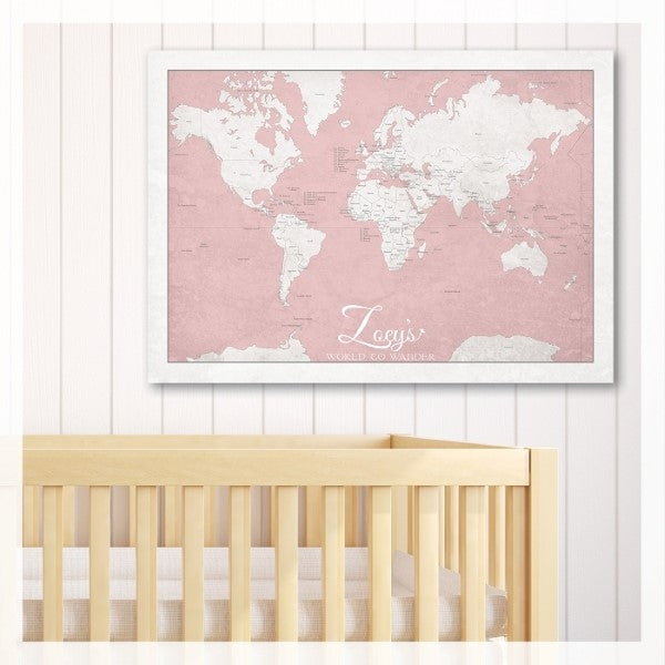 May and Belle Kids Wall Art World Map  Poster