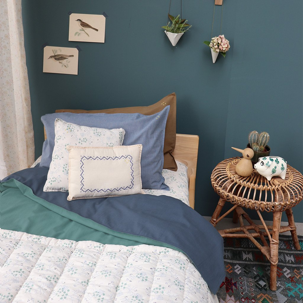 Camomile London Reversible Quilt Cover  Midnight Blue and Teal