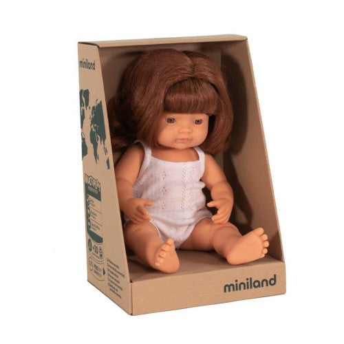 Miniland Doll - Caucasian Baby Girl Red Head 38 cm