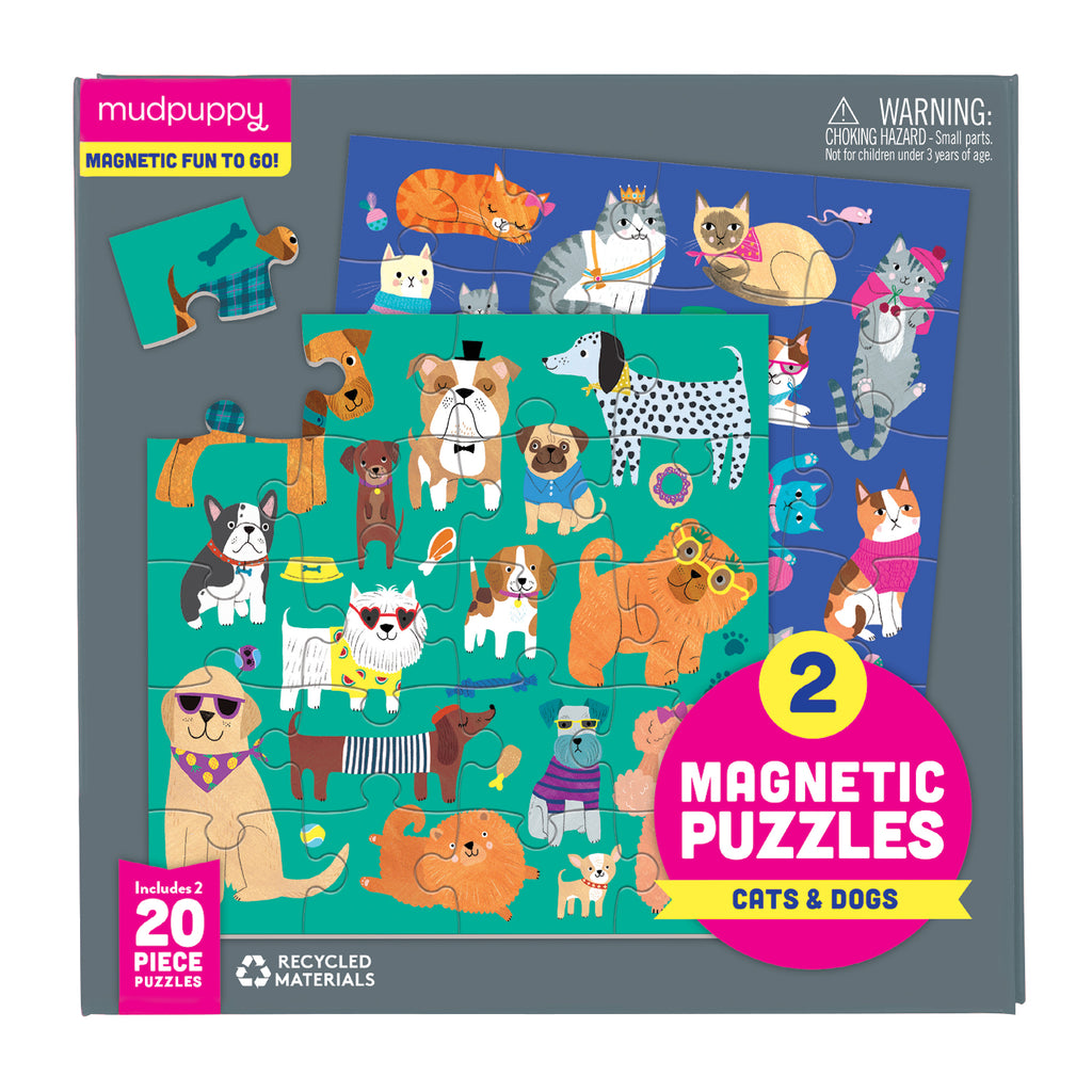 Mudpuppy - 20 Piece Magnetic Jigsaw Puzzles Cats & Dogs