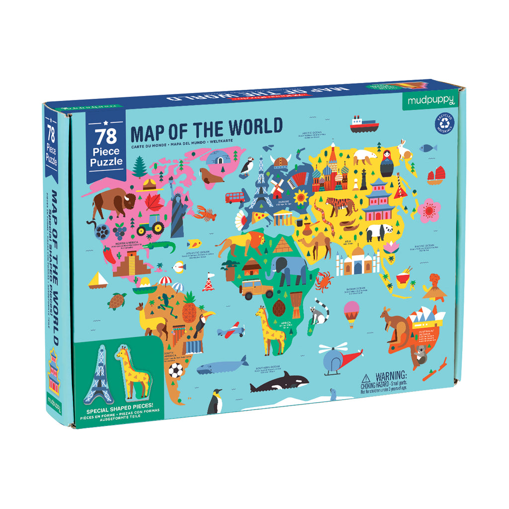 Mudpuppy - 78 Piece Map of the World Jigsaw