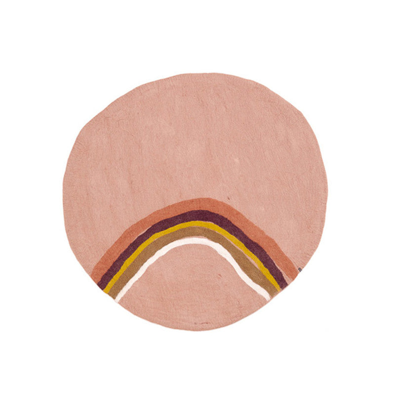 Muskhane Handmade Rainbow Kids Felt Round Rug - Natural and Quartz Pink