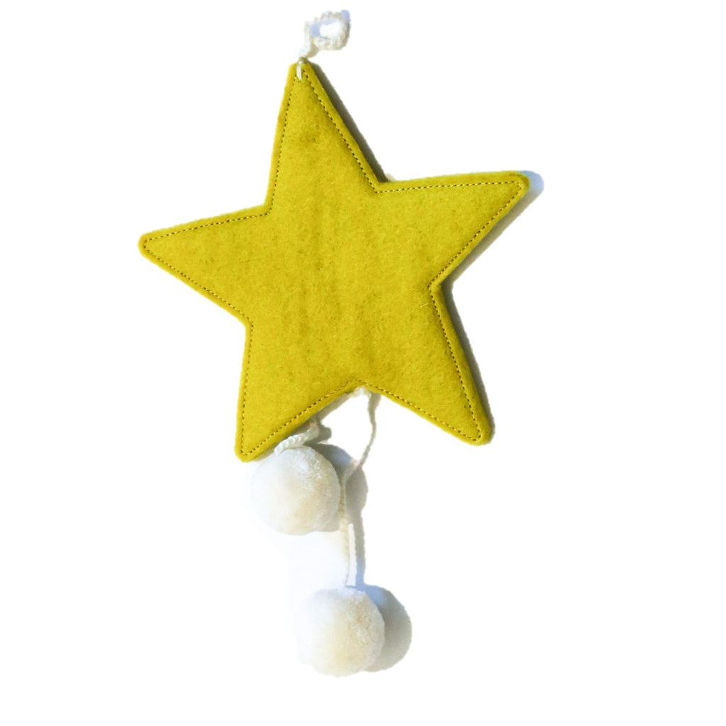 Muskhane Handmade Felt Hanging Star With Pompons - Sulphur Flower Yellow