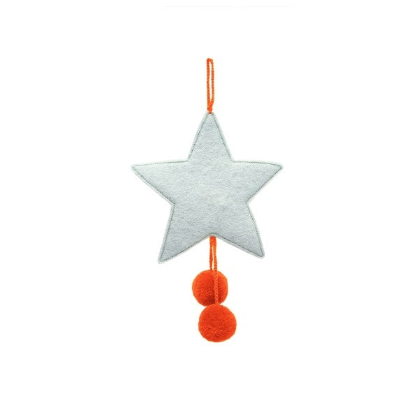 Muskhane Felt Hanging Star With Pompons Blue