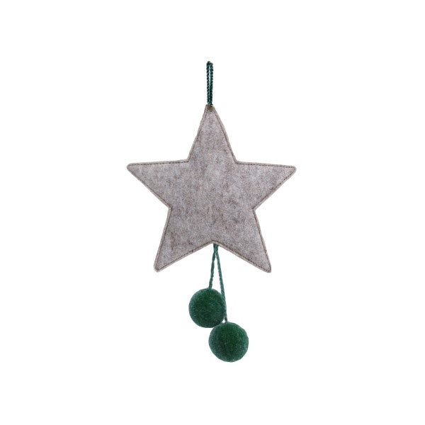 Muskhane Handmade Felt Hanging Star With Pompons  Grey