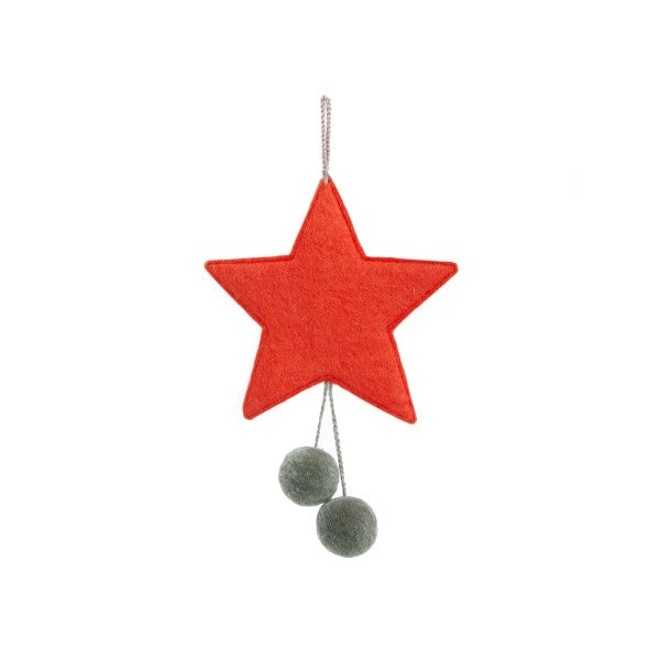 Muskhane Handmade Felt Hanging Star With Pompons  Orange
