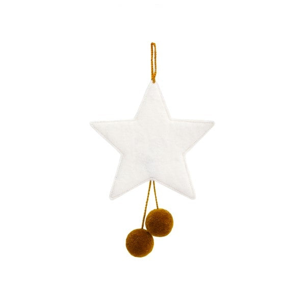 Muskhane Handmade Felt Hanging Star With Pompons  White