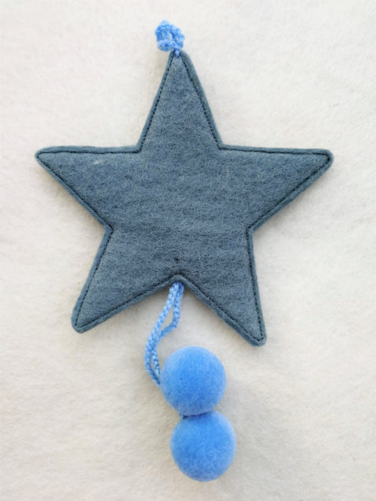 Muskhane Handmade Felt Hanging Star With Pompons  Mineral Blue
