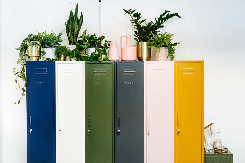 Mustard Made Metal Lockers - The Skinny in White