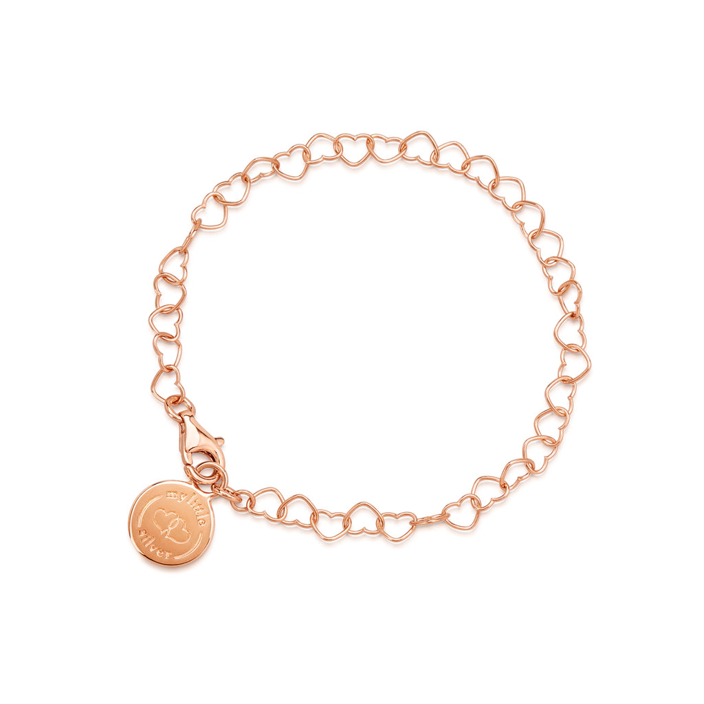 My Little Silver Kids Jewellery - Chain of Hearts Rose Gold Charm Bracelet