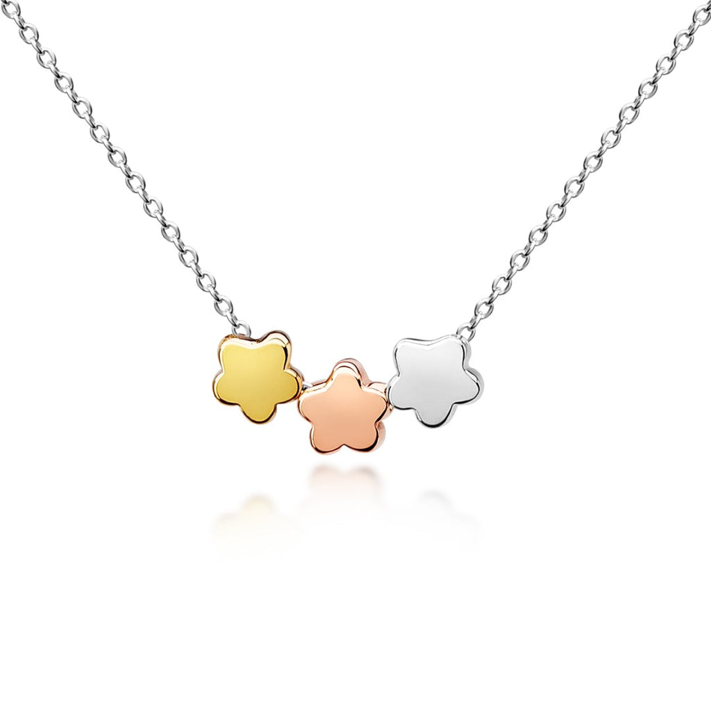 My Little Silver Kids Jewellery - Three Flowers Necklace