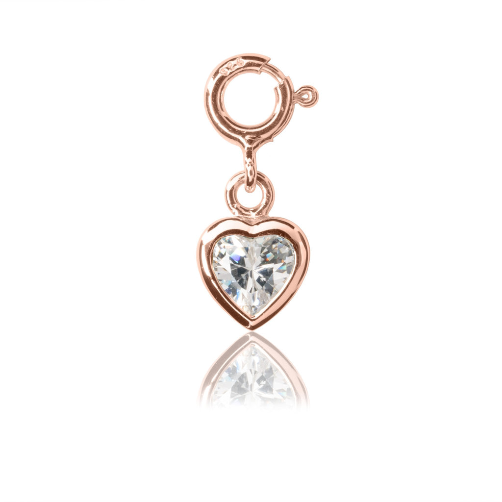 My Little Silver Kids Jewellery - Sparkle Heart Rose Gold Charm