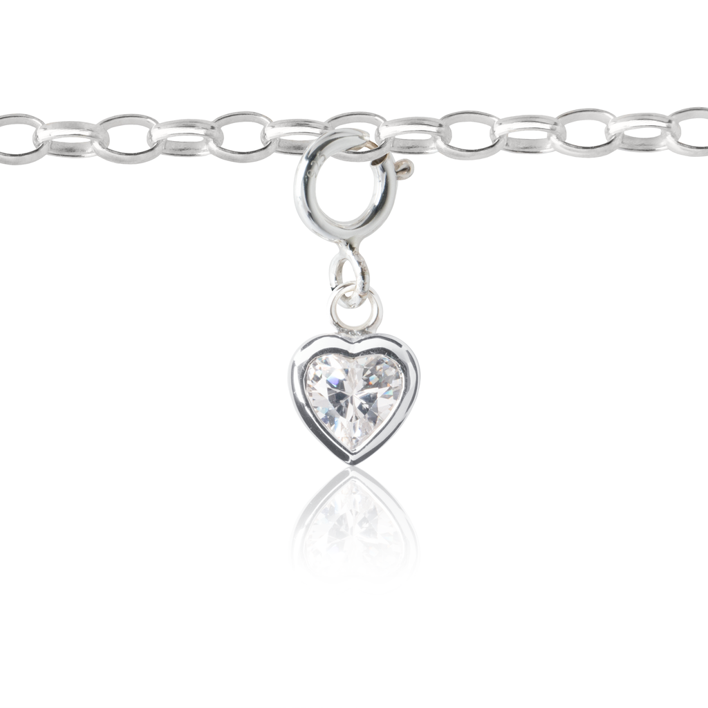 My Little Silver Kids Jewellery - Sparkle Heart Silver Charm