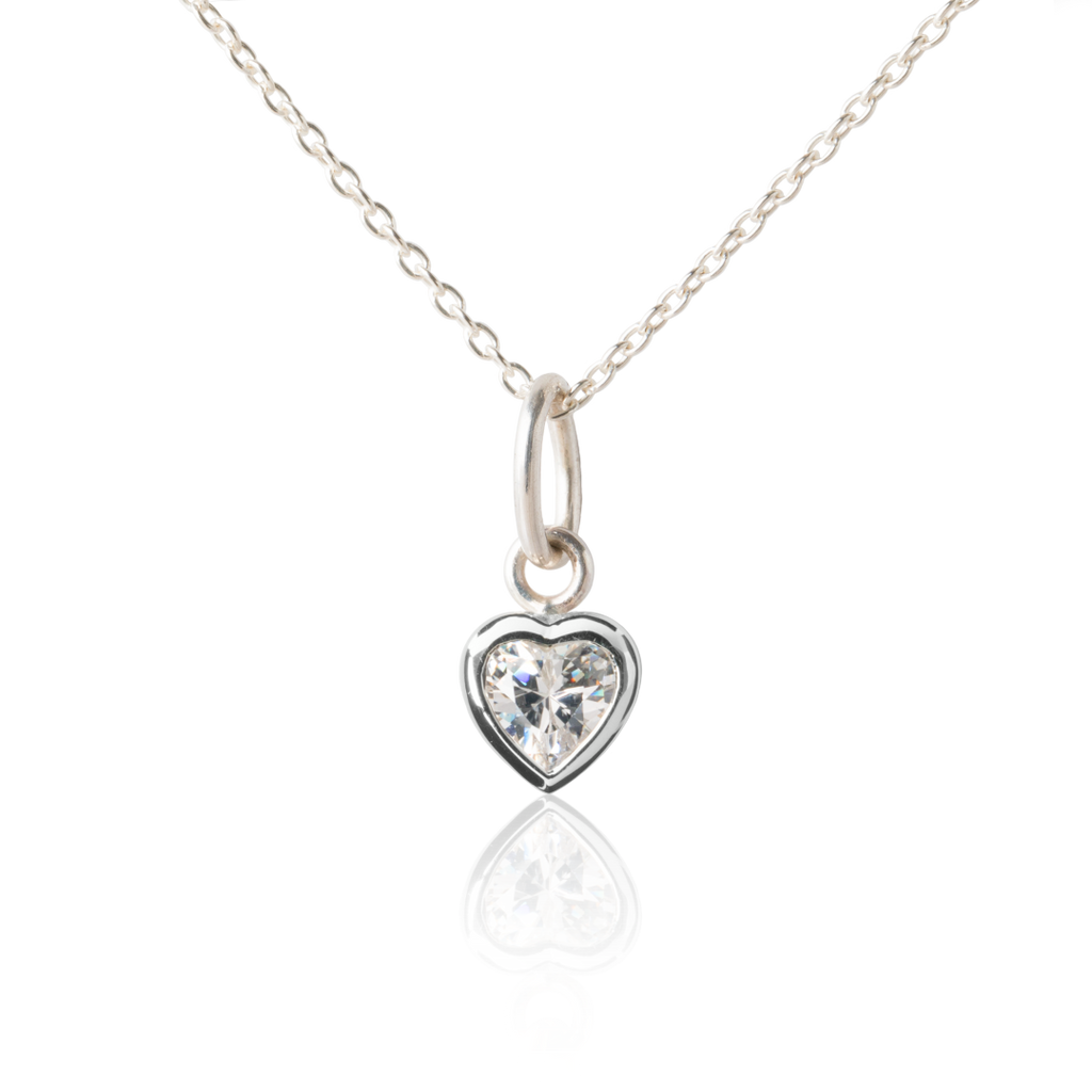 My Little Silver Kids Jewellery - Sparkle Heart Silver Necklace