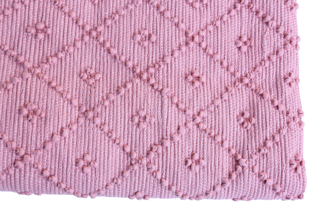 Naco Handmade Diamond Cotton Kids Rug – Cashmere Rose Pink Large
