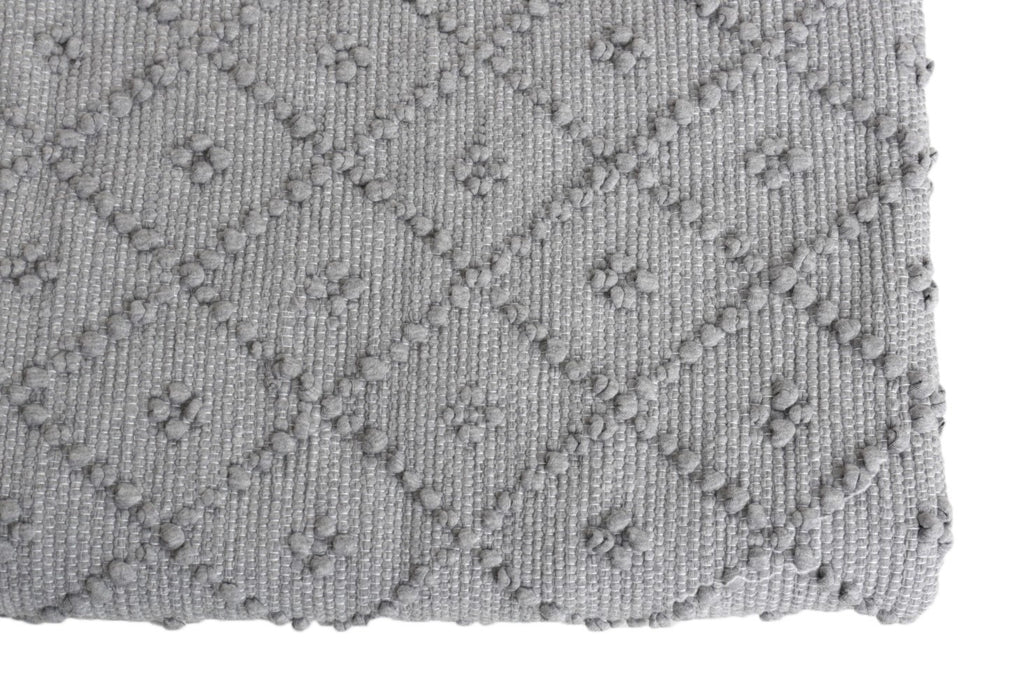 Naco Handmade Diamond Cotton Kids Rug – Grey