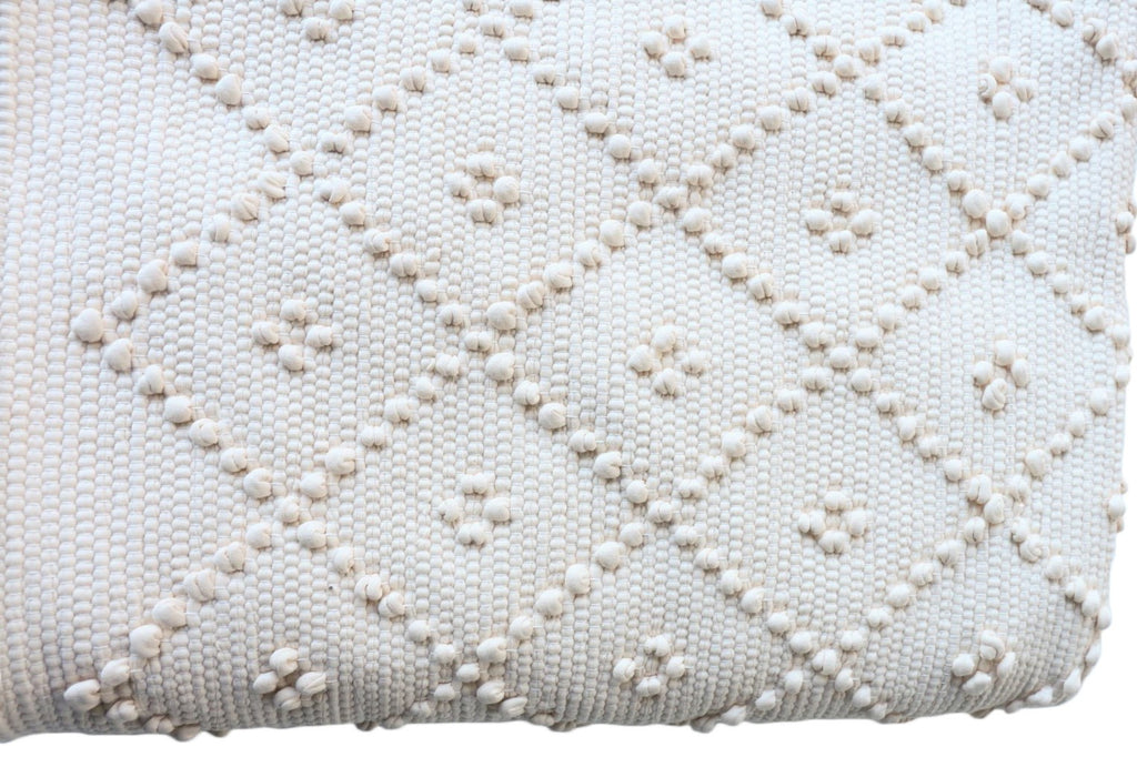 Naco Handmade Diamond Cotton Kids Rug – Off White