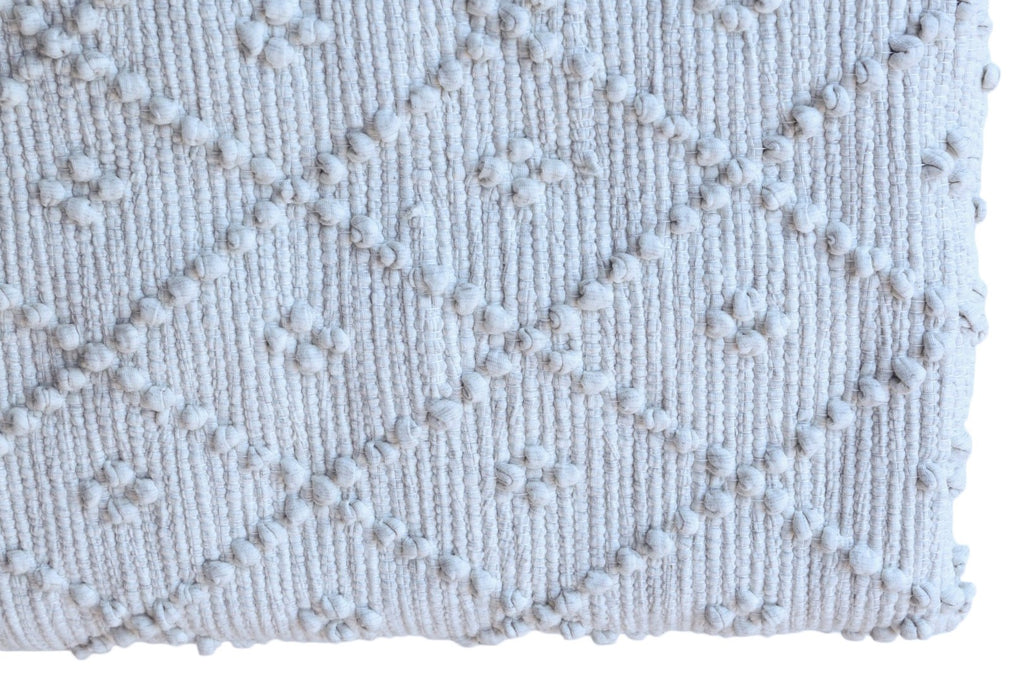 Naco Handmade Diamond Cotton Kids Rug – Pebble Light Grey
