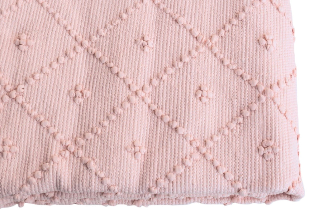 Naco Handmade Diamond Cotton Kids Rug – Powder Rose Pink (shade a)