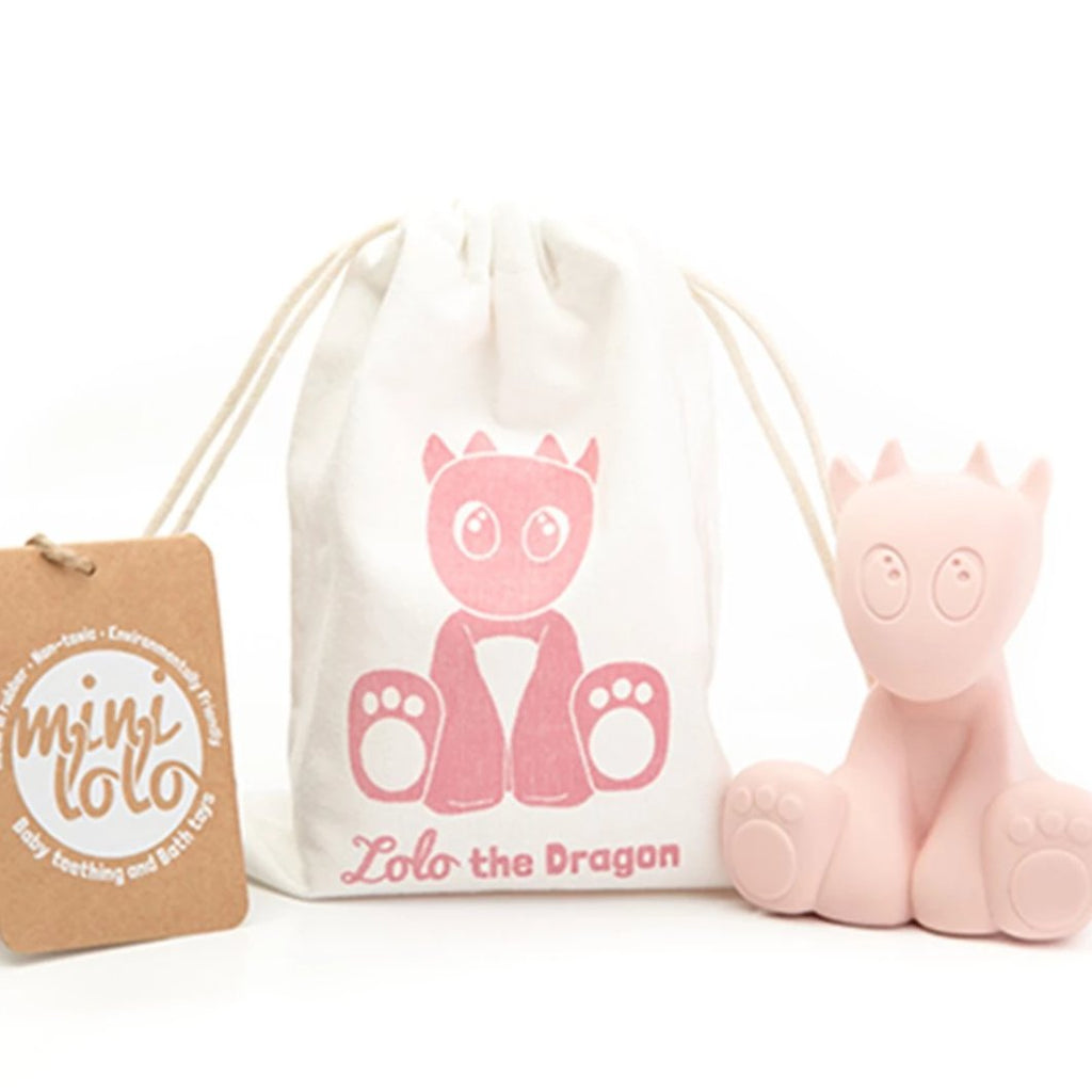 Mini Lolo Natural Rubber Teething And Bath Toys - Lolo the Dragon Pink