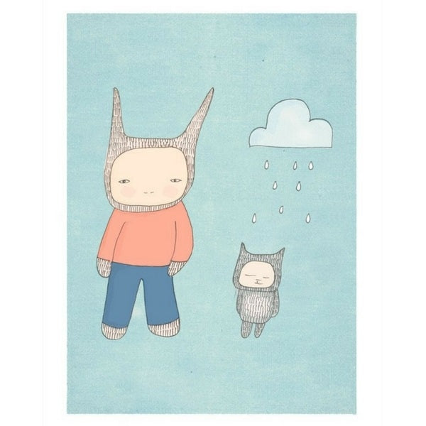 Nomuu Art Print My Bunny and Fred Blue
