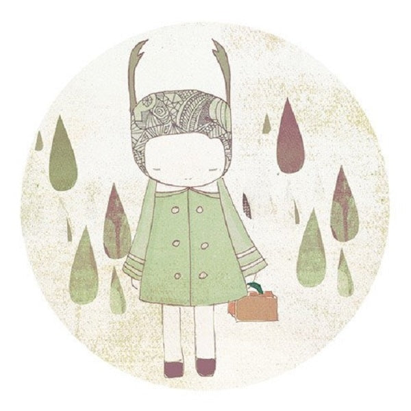 Nomuu Kids Wall Art   Deer Girl and Raindrops