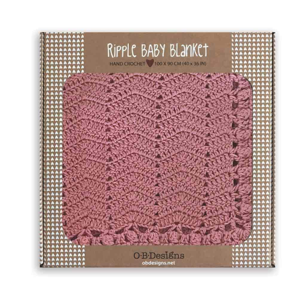 ob designs Cotton and Cashmere Crochet Summer Baby Blanket - Pink
