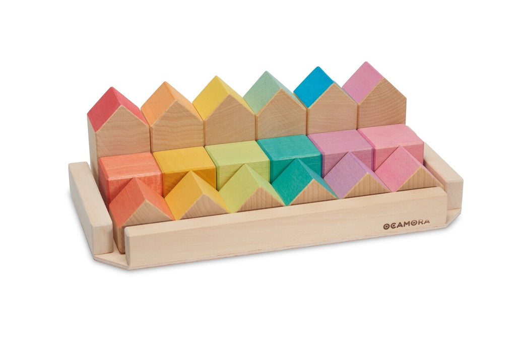 Ocamora Wooden Blocks - Houses and Cubes Set