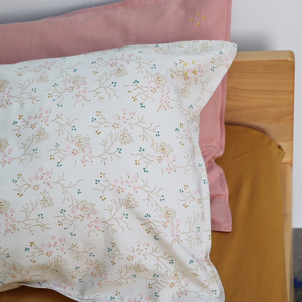Camomile London Cotton Pillowcase – Minako Floral Golden and Pink