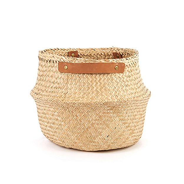 Olli Ella Natural Belly Basket Leather Handle